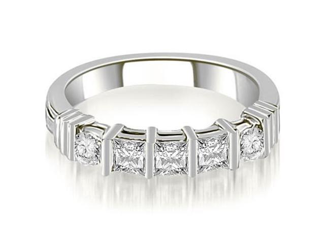 0.70 cttw. Princess And Round Cut Diamond Wedding Band in 18K White Gold (SI2, H-I)