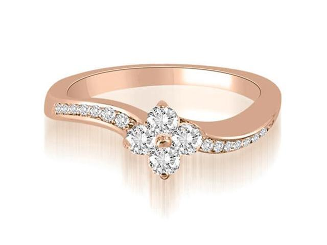 0.90 cttw. Curved Round Cut Diamond Cluster Fashion Ring in 18K Rose Gold
