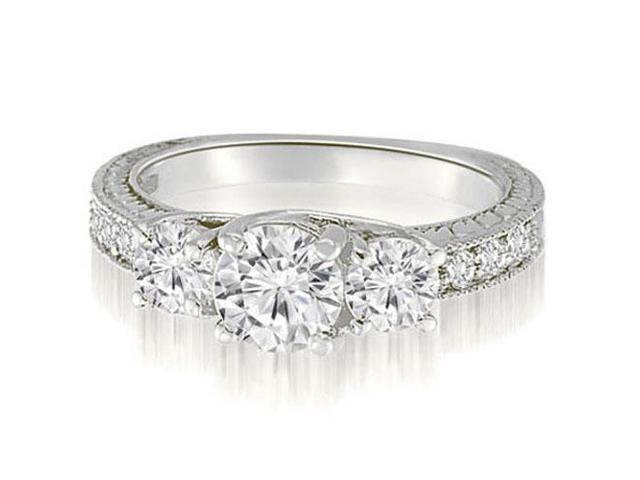 1.40 cttw. Three-Stone Trellis Round Cut Diamond Engagement Ring in Platinum (SI2, H-I)