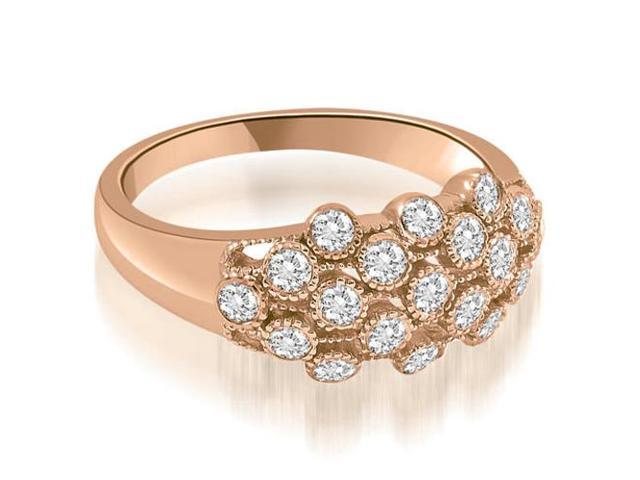 0.50 cttw. Milgrain Round Cut Cluster Diamond Fashion Ring in 18K Rose Gold