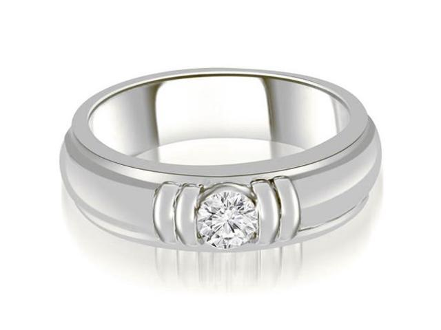 0.75 cttw. Round Diamond Men's Solitaire Ring in 18K White Gold (SI2, H-I)