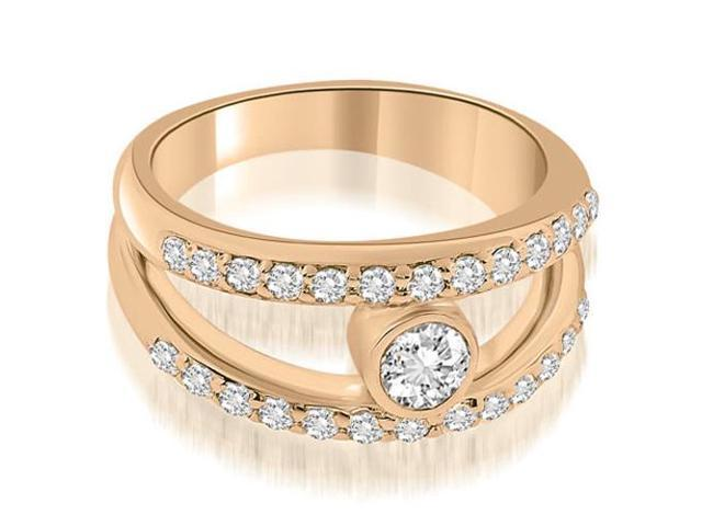 0.77 cttw. Split Shank Round Cut Center Diamond Ring in 14K Rose Gold