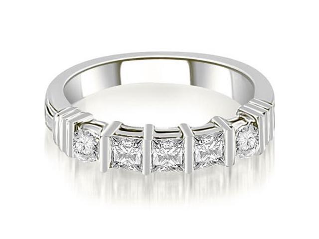 0.70 cttw. Princess And Round Cut Diamond Wedding Band in Platinum (SI2, H-I)