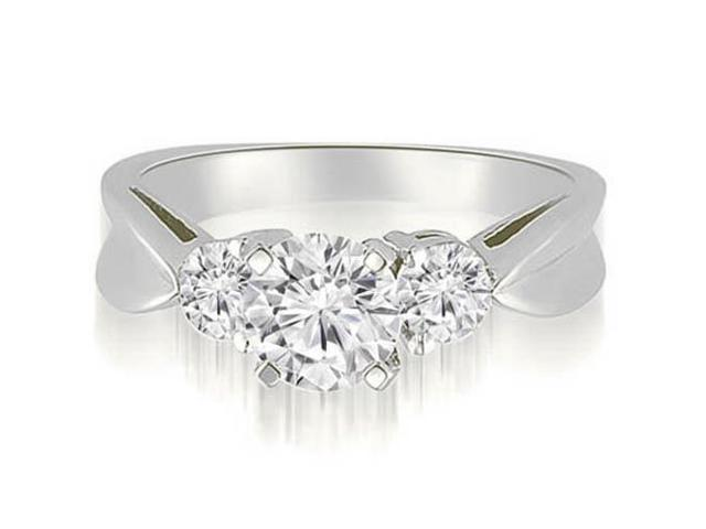 1.50 cttw. Round Cut Three-Stone Diamond Engagement Ring in 18K White Gold (SI2, H-I)