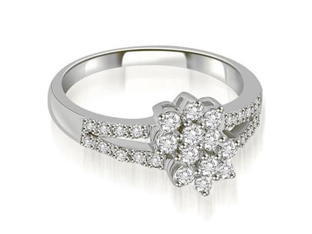 0.60 cttw. Split Shank Two Flower Cluster Diamond Fashion Ring in 14K White Gold