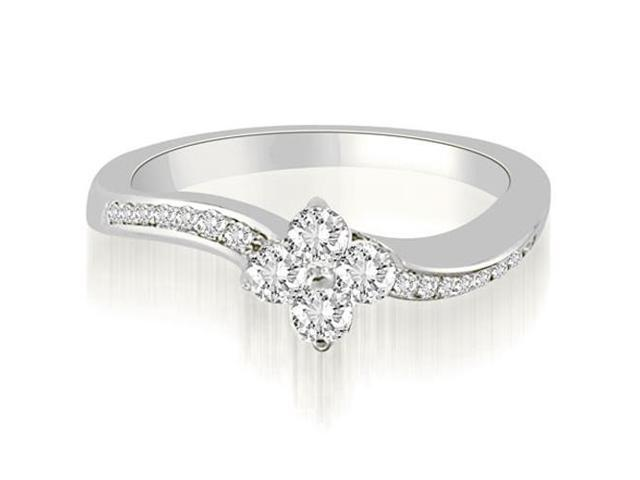 0.90 cttw. Curved Round Cut Diamond Cluster Fashion Ring in Platinum (SI2, H-I)