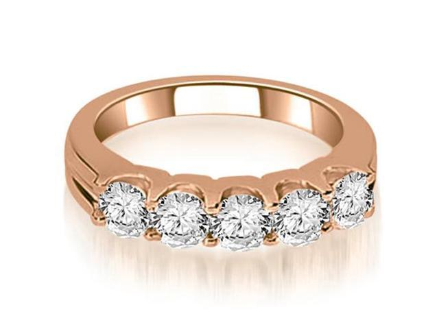 1.00 cttw. Round Cut Diamond Wedding Band in 18K Rose Gold (VS2, G-H)