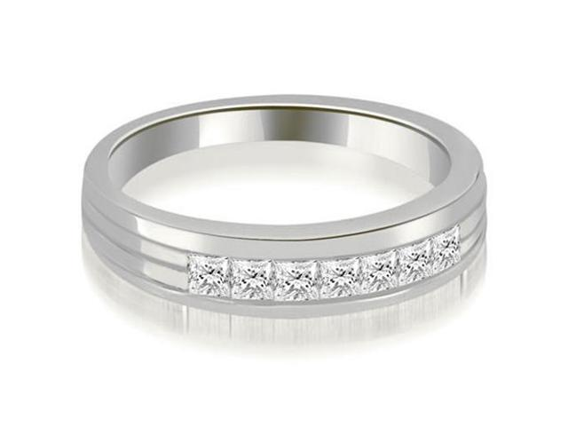 0.70 cttw. Princess Diamond Men's Wedding Ring in 14K White Gold (VS2, G-H)