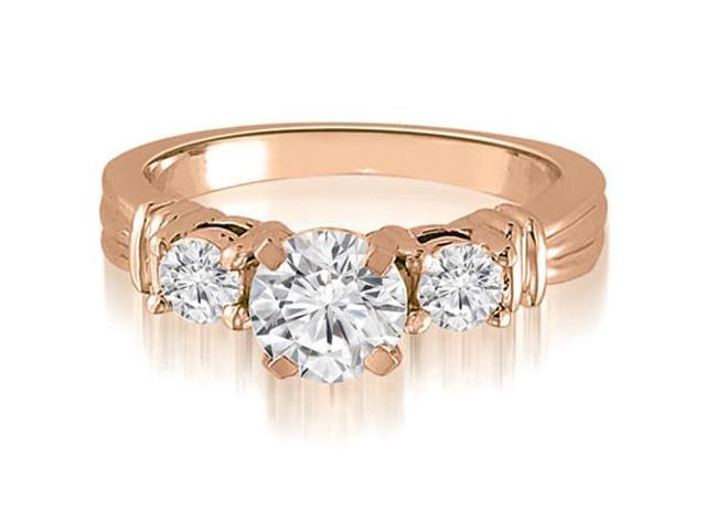 1.50 cttw. Vintage Three-Stone Round Cut Diamond Engagement Ring in 18K Rose Gold (VS2, G-H)