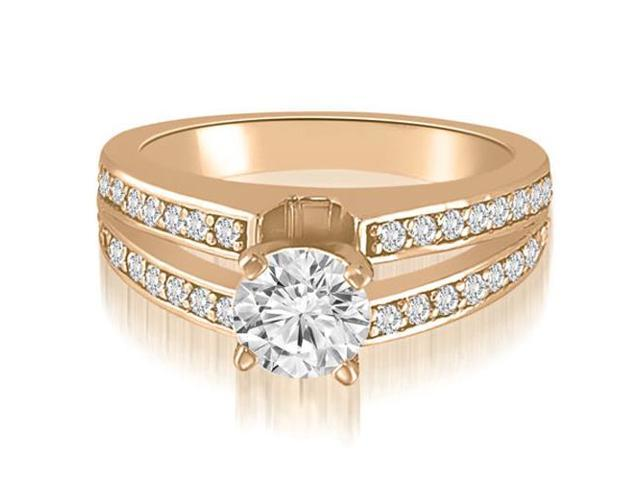 1.50 cttw. Split-Shank Round Cut Diamond Engagement Ring in 14K Rose Gold (SI2, H-I)