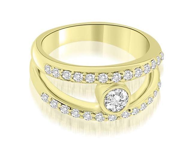 0.77 cttw. Split Shank Round Cut Center Diamond Ring in 18K Yellow Gold
