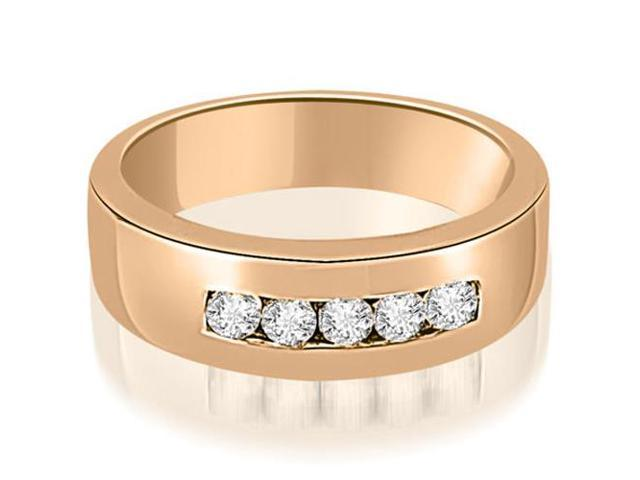 0.40 cttw. Round Diamond Men's Wedding Ring in 14K Rose Gold