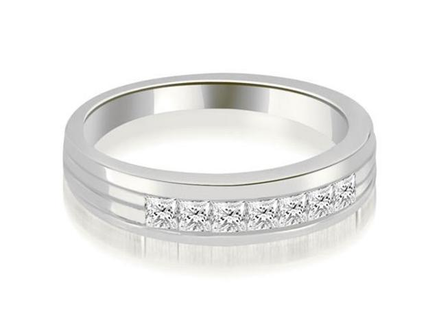 0.70 cttw. Princess Diamond Men's Wedding Ring in 18K White Gold