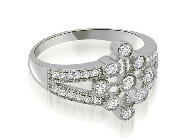 0.50 cttw. Split Shank Milgrain Flower Diamond Fashion Ring in 14K White Gold (VS2, G-H)