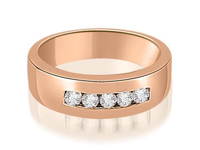 0.40 cttw. Round Diamond Men's Wedding Ring in 18K Rose Gold