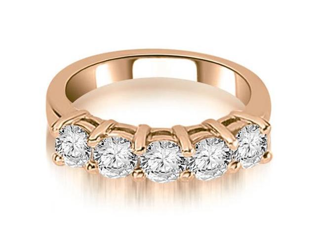 1.25 cttw. Prong Set Round Cut Diamond Wedding Band in 14K Rose Gold