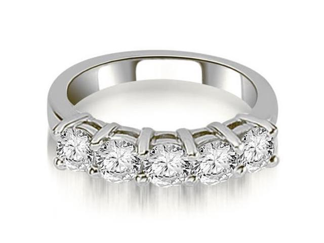 1.25 cttw. Prong Set Round Cut Diamond Wedding Band in 14K White Gold (SI2, H-I)