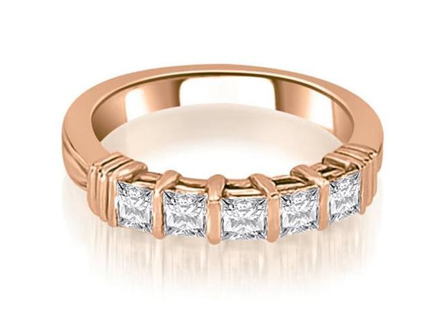 0.85 cttw. Bar Setting Princess Cut Diamond Wedding Band in 18K Rose Gold