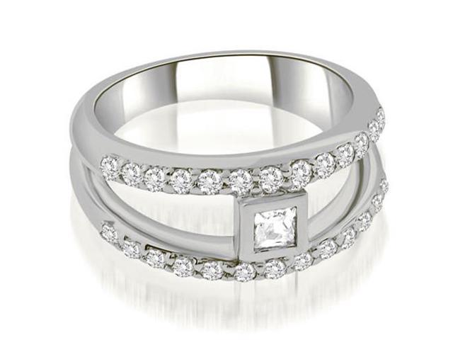 0.77 cttw. Split Shank Princess Cut Center Diamond Ring in 14K White Gold (SI2, H-I)