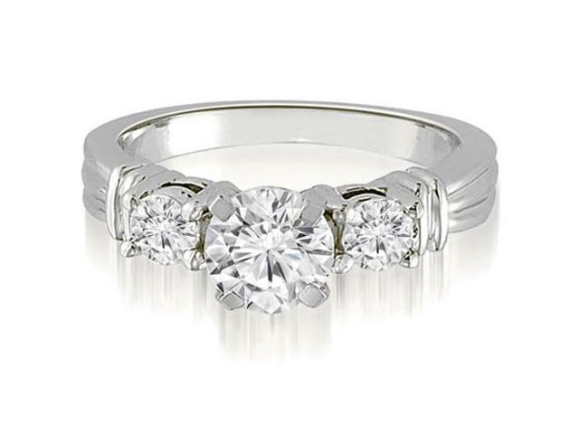 1.25 cttw. Vintage Three-Stone Round Cut Diamond Engagement Ring in 18K White Gold (VS2, G-H)