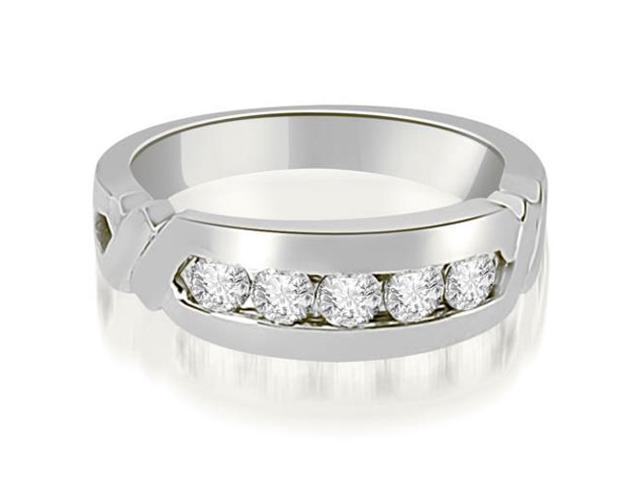 0.75 cttw. Round Diamond Men's Wedding Ring in 18K White Gold (VS2, G-H)