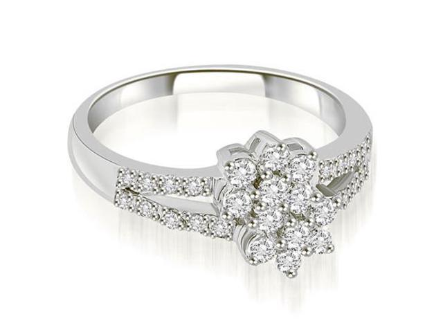 0.60 cttw. Split Shank Two Flower Cluster Diamond Fashion Ring in Platinum