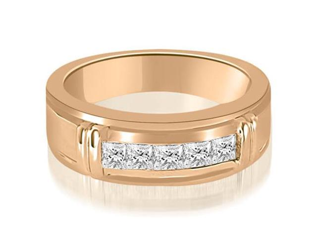 0.85 cttw. Princess Diamond Men's Wedding Ring in 14K Rose Gold