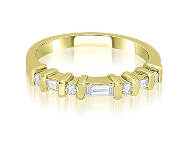 0.35 cttw. Round and Baguette Diamond Wedding Band in 14K Yellow Gold