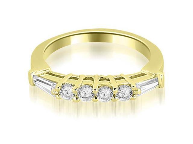 0.50 cttw. Baguette and Round Diamond Wedding Band in 14K Yellow Gold