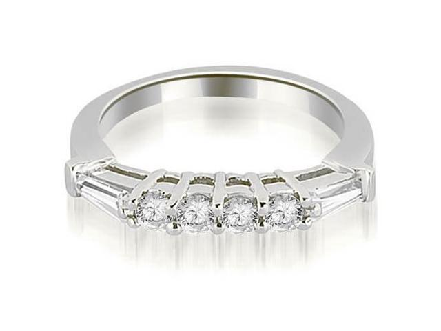 0.50 cttw. Baguette and Round Diamond Wedding Band in 18K White Gold