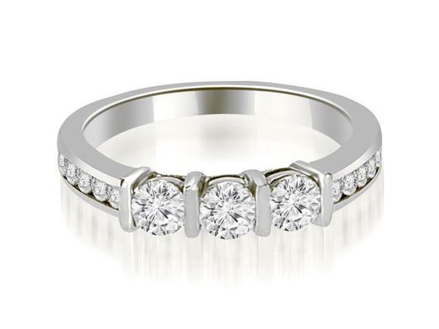 0.80 cttw. Bar Set Round Cut Diamond Wedding Band in Platinum