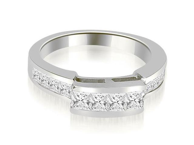 0.95 cttw. Channel Set Diamond Princess and Round Cut Wedding Band in 18K White Gold