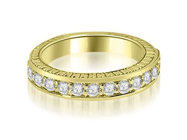 0.60 cttw. Antique Round Cut Diamond Wedding Band in 14K Yellow Gold