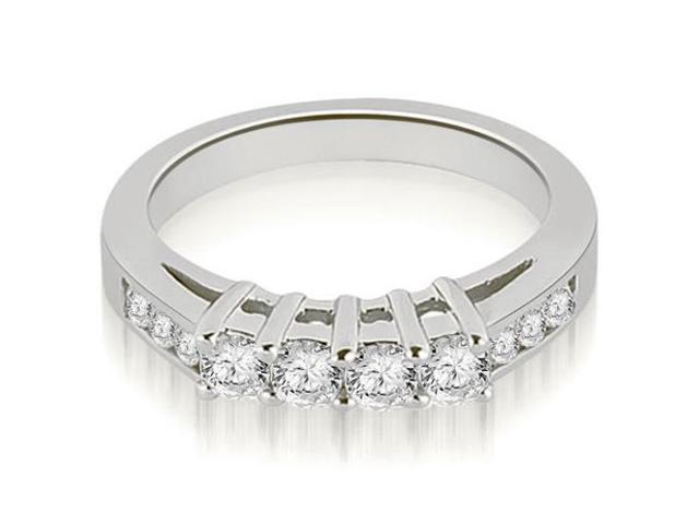0.60 cttw. Prong Set Round Cut Diamond Wedding Band in 14K White Gold