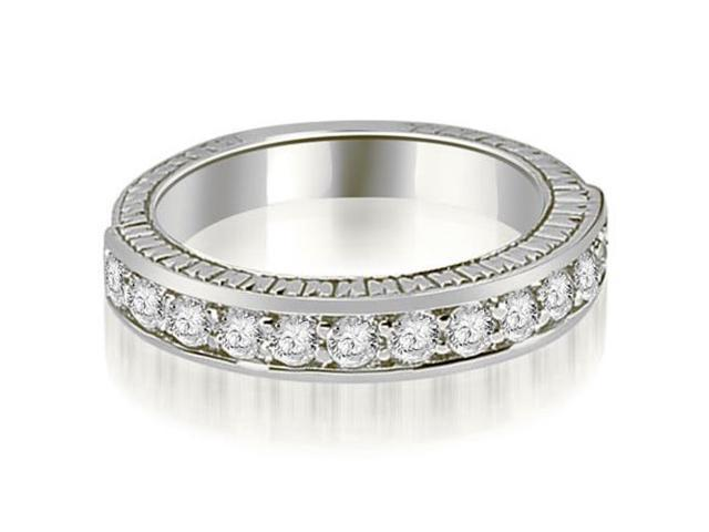 0.60 cttw. Antique Round Cut Diamond Wedding Band in 18K White Gold