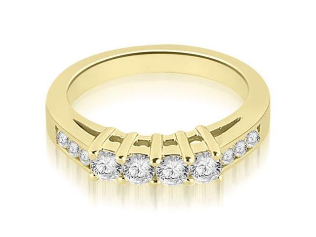 0.60 cttw. Prong Set Round Cut Diamond Wedding Band in 14K Yellow Gold