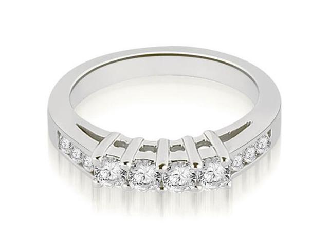 0.60 cttw. Prong Set Round Cut Diamond Wedding Band in 18K White Gold
