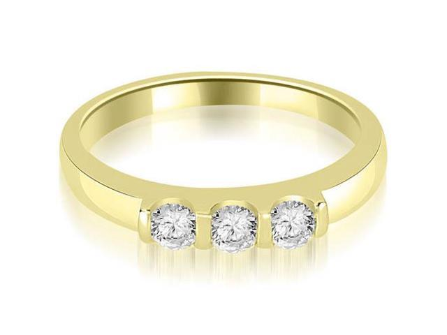 0.45 cttw. Three Stone Diamond Wedding Band in 18K Yellow Gold
