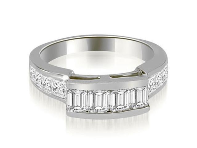 1.40 cttw. Channel Set Diamond Princess and Emerald Cut Wedding Band in 14K White Gold