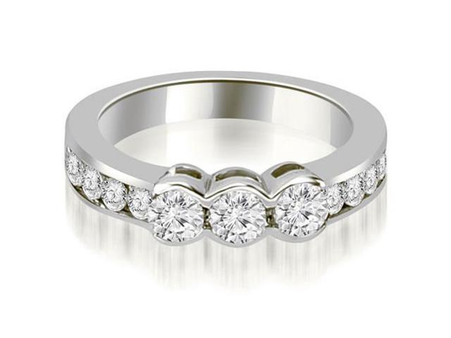 1.10 cttw. Bezel Set Round Cut Diamond Wedding Band in 18K White Gold