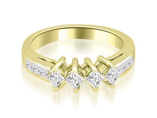 1.35 cttw. Channel Set Princess and Round Diamond Wedding Band in 18K Yellow Gold