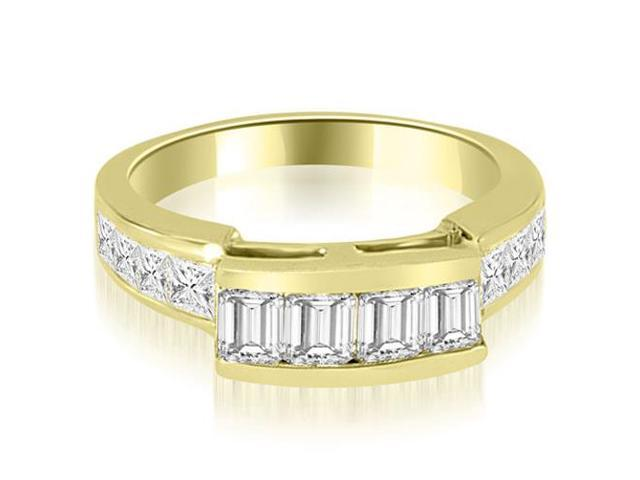 1.40 cttw. Channel Set Diamond Princess and Emerald Cut Wedding Band in 18K Yellow Gold