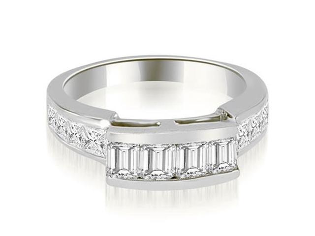 1.40 cttw. Channel Set Diamond Princess and Emerald Cut Wedding Band in Platinum