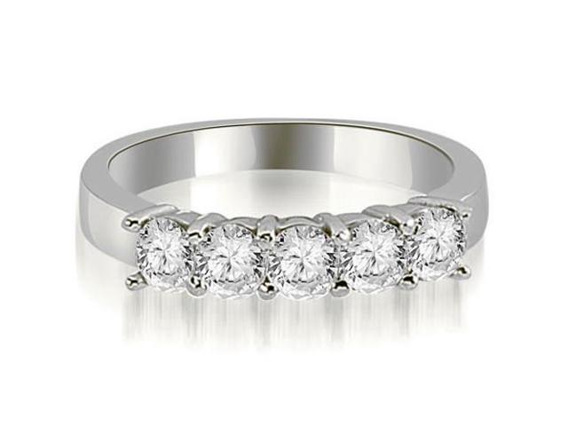 0.75 cttw. Round Diamond Classic 5-Stone Prong Wedding Band in 14K White Gold