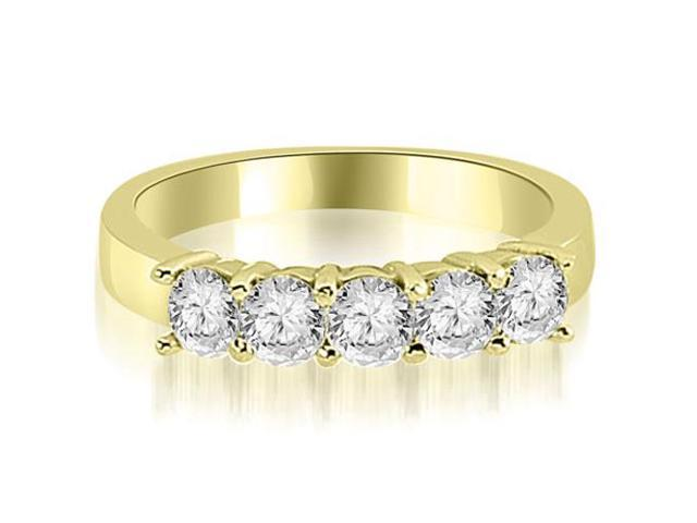 1.50 cttw. Round Diamond Classic 5-Stone Prong Wedding Band in 18K Yellow Gold