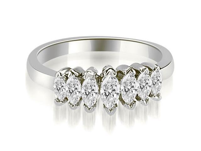 1.01 cttw. Marquise Diamond 7-Stone Wedding Band in 18K White Gold