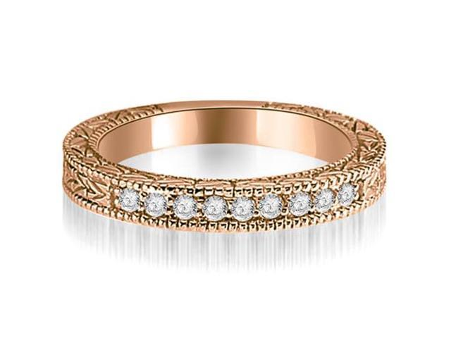 0.20 cttw. Round Diamond Antique Wedding Band in 18K Rose Gold