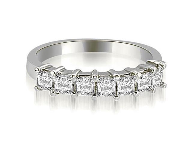 1.20 cttw. Princess Diamond 7-Stone Prong Wedding Band in 14K White Gold