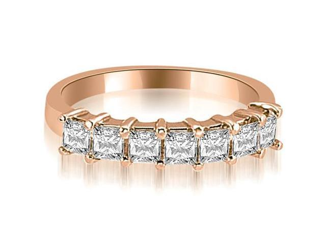 1.20 cttw. Princess Diamond 7-Stone Prong Wedding Band in 18K Rose Gold