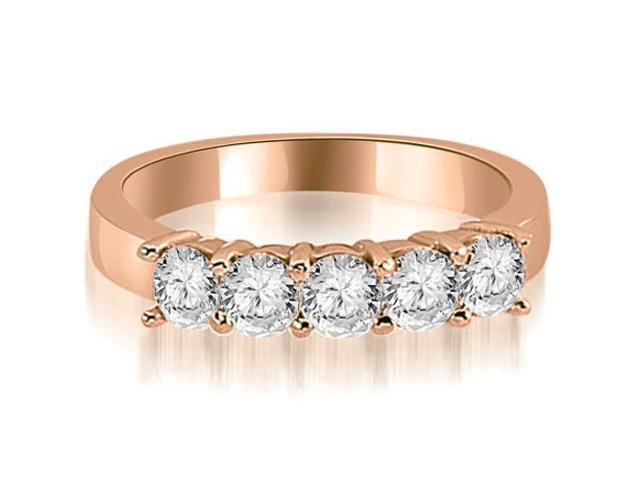 0.75 cttw. Round Diamond Classic 5-Stone Prong Wedding Band in 18K Rose Gold